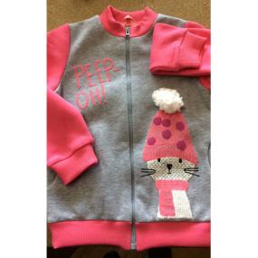 Бомбер КФ-569 Кошка в шапке (начёс) розовый/меланж
