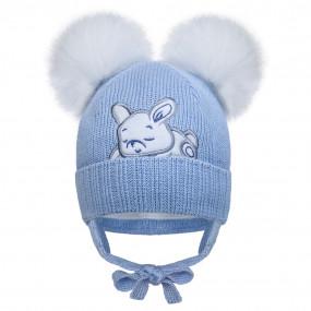 Первая шапка 21435 голубой (премиум) вязка на хлопке