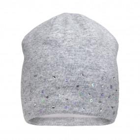 Шапка зима 21407 серый (премиум) вязка на флисе