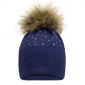 Шапка зима 21408 синий (премиум) вязка на флисе, мех енот