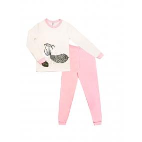 """Пижама """"Сквирики-2"""" молоко/розовый (интерлок-софт)"""