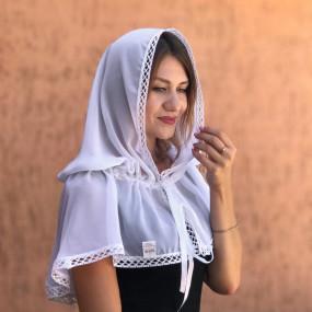 "Палантин ""Натюрель-2"" взрослый (шифон), белый 80х120 см"