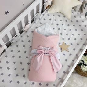 Плед-конверт Бело-розовый (муслин/плюш) со съёмным одеялом