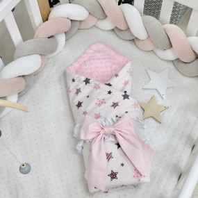 Плед Minky - Stars серо-розовый (с утеплителем), 100х80 см