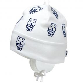 Деми шапка 2157 молоко (двойная с ушками) завязки