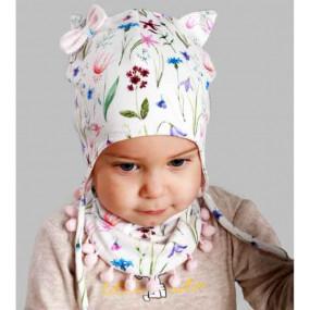 Комплект АЗИЗА (полевые цветы) деми - шапка с манишкой