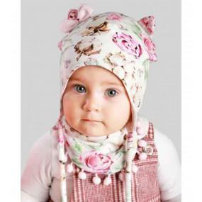 Комплект АЗИЗА (садовые цветы) деми - шапка с манишкой