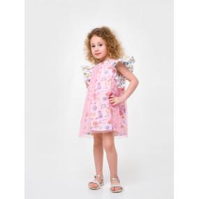 """Платье 120320 бело-розовое """"Розовый цитрус"""""""