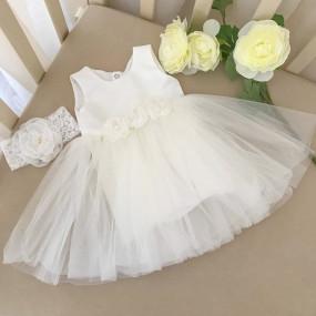 "Платье ""Емілія"" с вышивкой + повязка (атлас, фатин) молочный"