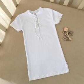 Сорочка Кристиан-3 к.р. (белый), льняное кружево