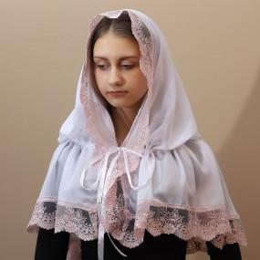 "Палантин ""Світлинка"" взрослый (шифон), белый/пудра 80х120 см"