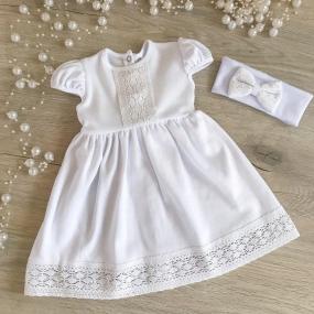 """Платье для крещения """"Аріна-2"""" к.р. с повязкой (интерлок), белое"""