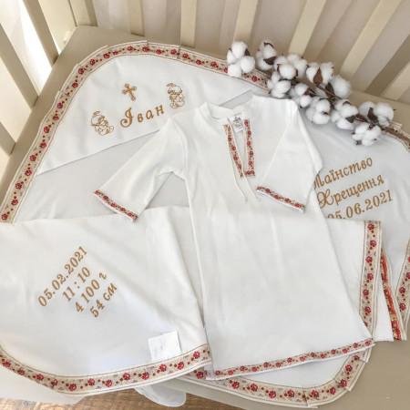 """Кристиан-2"""" крестильная рубаха (белый с красным орнаментом)"""