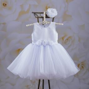 "Платье ""Емілія"" с вышивкой + повязка (атлас, фатин) белый"