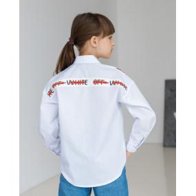 Рубашка 8033 белый с красным ШКОЛА