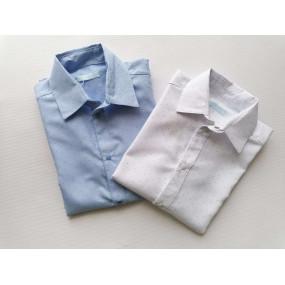 Рубашка голубая в точку с коротким рукавом (на кнопках), 100%