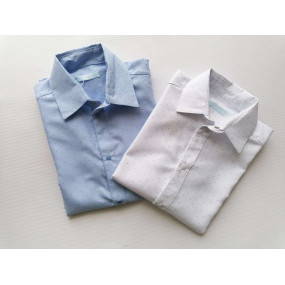 Рубашка белая в точку с коротким рукавом (на кнопках), 100%