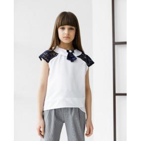 Блуза 7886 белый с синим ШКОЛА