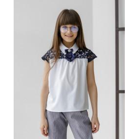 Блуза 7946 белый с синим ШКОЛА