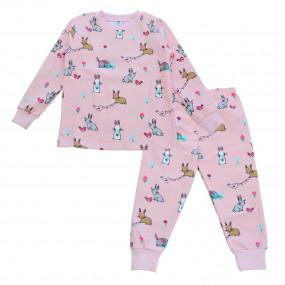 """Пижама """"Zoo"""" зайки/розовый, футер (тёплая)"""