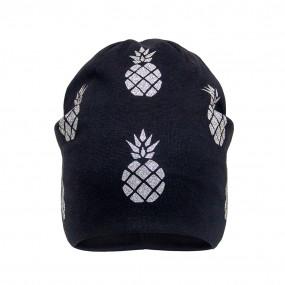 Деми шапка 21707 чёрная (двойной трикотаж), ананасы