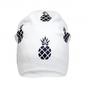 Деми шапка 21707 молоко (двойной трикотаж), ананасы