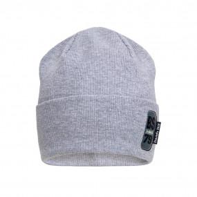Деми шапка 21733 серый (двойная в рубчик)