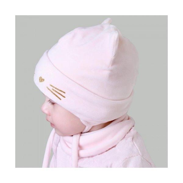 Комплект Мара роз. (деми, королевский велюр) - шапка с манишкой