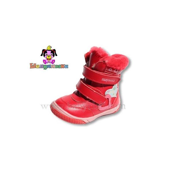 Зимняя обувь для девочки, цвет красный, ТМ Шалунишка