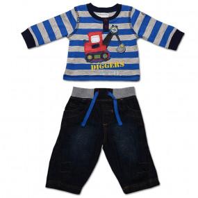 Комплект для мальчика 'Трактор Babaluno' с джинсами, синяя полоска