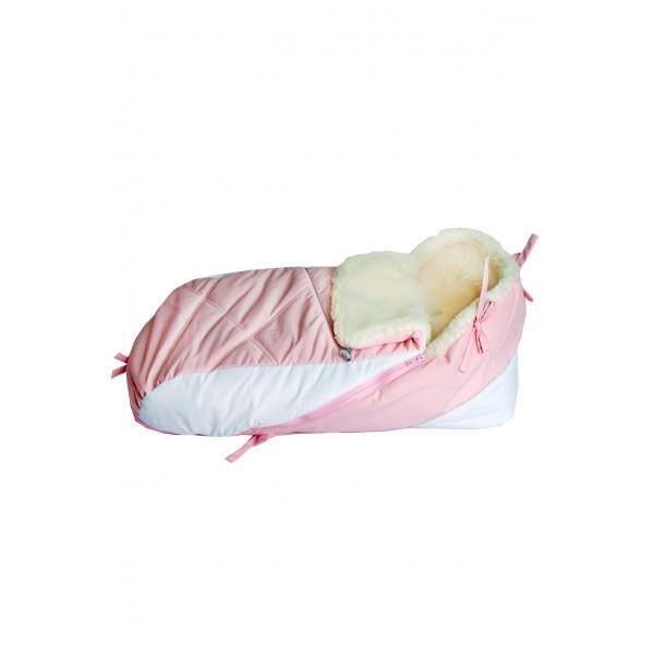 Конверт в санки розовый с белым